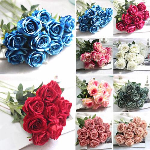 Künstliche Blumen Rosen Artificial Flower Flanellblume Seidenblumen Einzelb L9L1