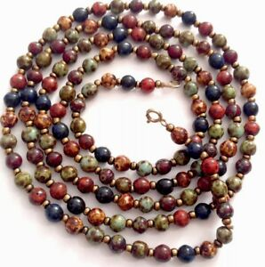 Vintage-46-034-Long-Faux-Agate-Glass-Bead-Necklace-GIFT-BOXED