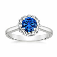 Real Sapphire Gemstone Diamond Rings 14k White Gold Round Cut IJ/SI1 Size M