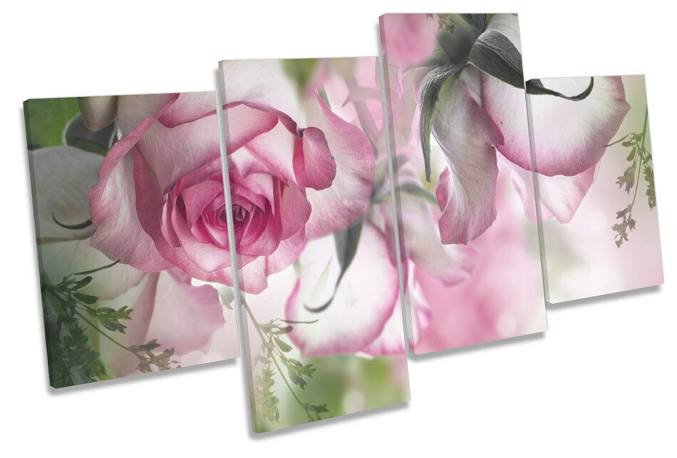 Beautiful Floral Flowers CANVAS WALL ART MULTI  Box Framed