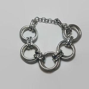 Silver-Tone-Large-Heavy-Link-Chain-Bracelet