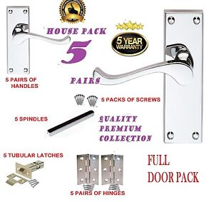 Full Door Pack X 5 Modern Chrome Victorian Silver Scroll