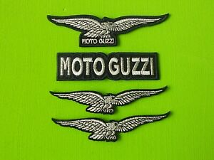 PATCH-MOTO-GUZZI-KIT-N-4-TOPPE-RICAMATE-ARGENTO-TERMOADESIVE