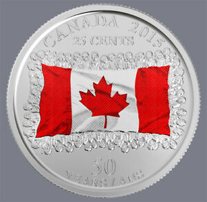 034-FREE-034-2015-CANADA-25-CENT-QUEEN-ELIZABETH-MAPLE-LEAF-COLOURED-FLAG-COIN