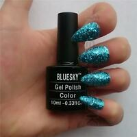 Bluesky S07N BLUE GLITTER UV/LED Soak Off Gel Nail Polish 10ml Free Postage