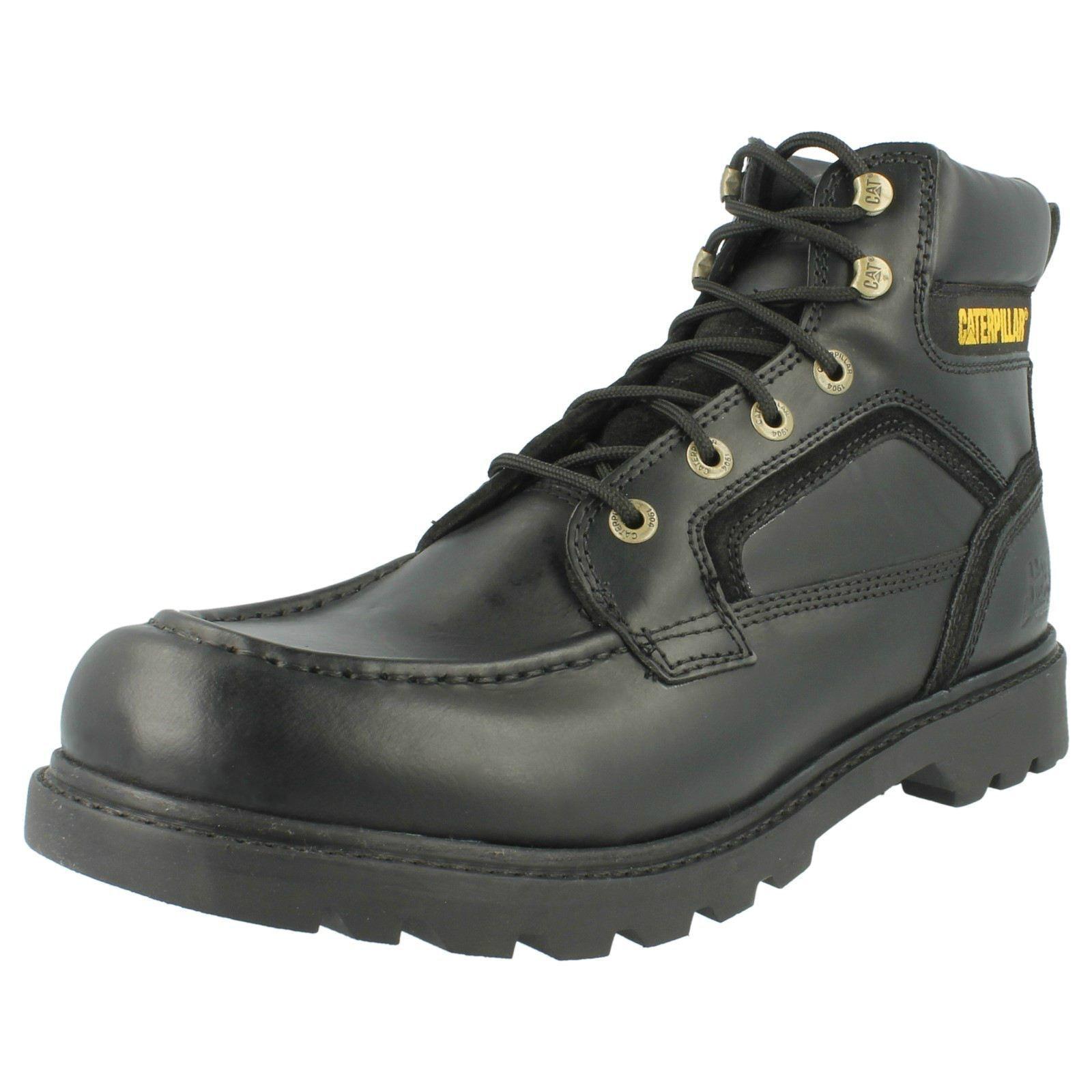 Para Hombre Caterpillar De Cuero Negro De Encaje botas transponer p713887