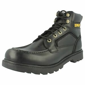 Image is loading MENS-CATERPILLAR-BLACK-LEATHER-LACE-UP-BOOTS-TRANSPOSE-
