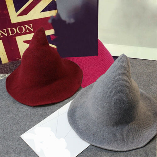 Halloween Foldable Cotton Pointed Witch Hat High Brim Knitted Hat Bucket Hat
