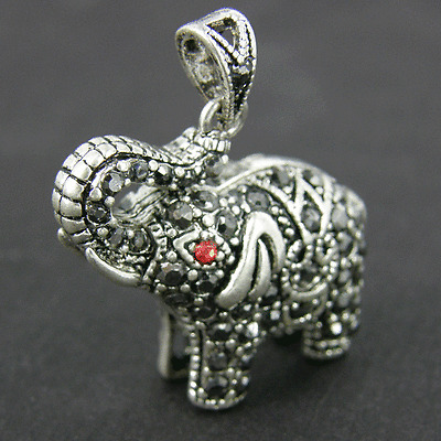 5 x Rhinestone Elephant Ruby Charms Antique Silver Alloy Pendants CH26