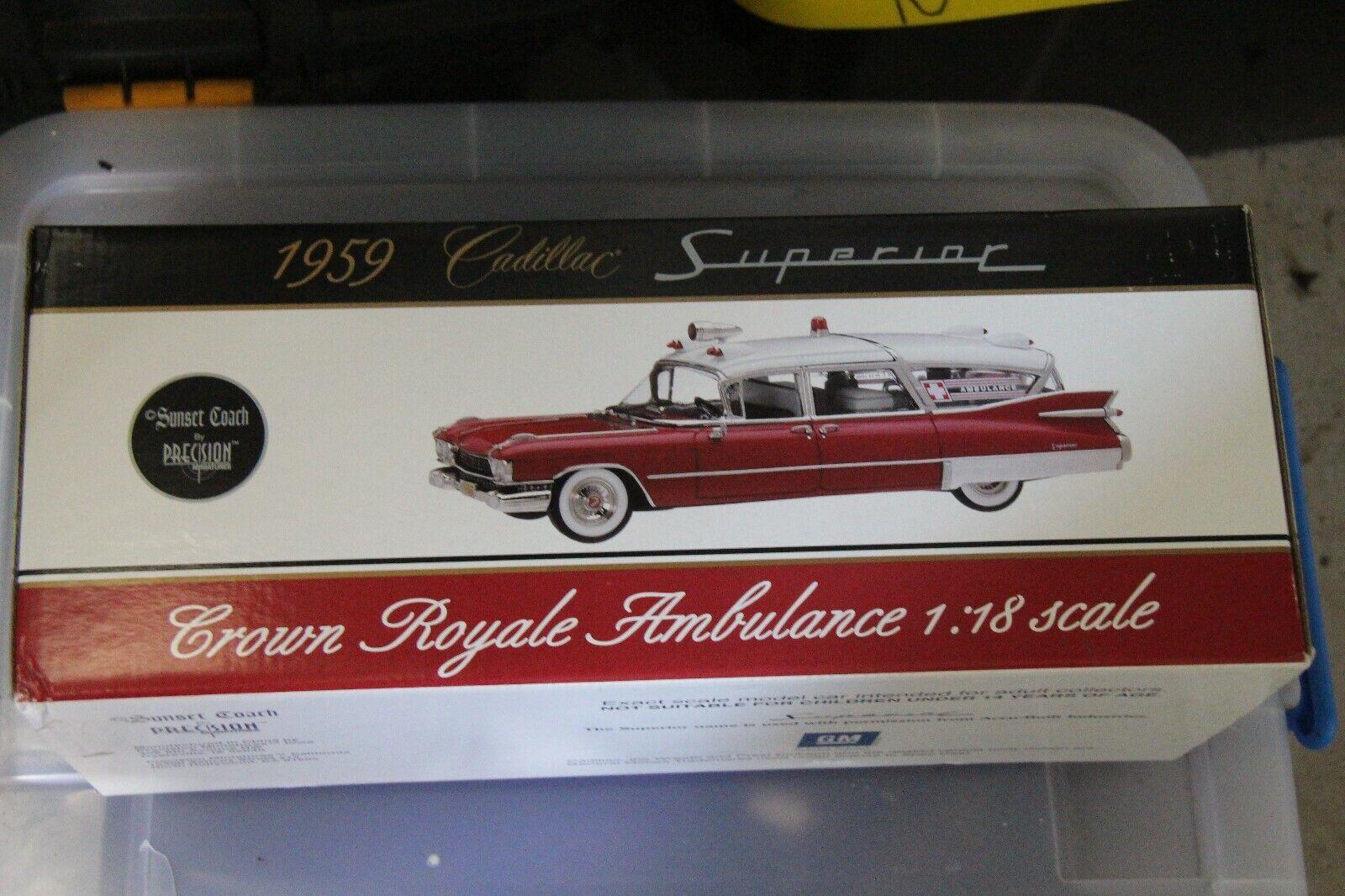 Cadillac 1959 Crown Royale Ambulance, White, Precision Miniatures,1 18, PMSC-03W
