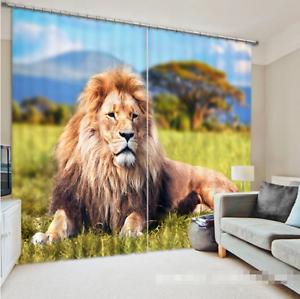 León de césped 3D 90 Cortinas de impresión de cortina de foto Blockout Tela Cortinas Ventana CA