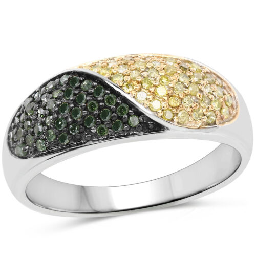 Details about  /0.32 Ct Genuine Green /& Yellow Diamond 925 Sterling Silver Wedding Bridal Ring