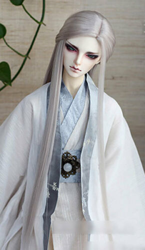 7-8 1//4 BJD Doll Smooth Straight Long Ancient Wig Hair Light Silver Gray UAL-#3