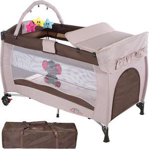 Cuna infantil de viaje portátil altura ajustable con acolchado para bebé café