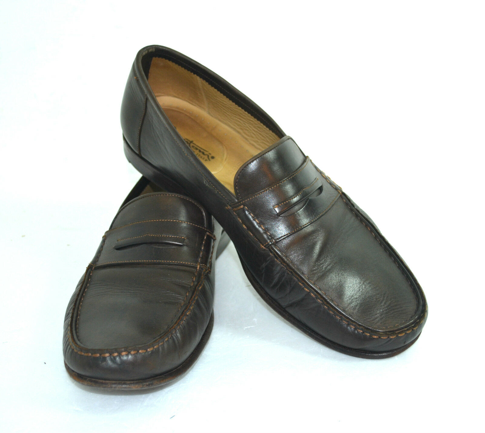 SANTONI BROWN GENUINE LEATHER DRESSY SHOES HIGH QUALITY ITALY SIZE 12 EE