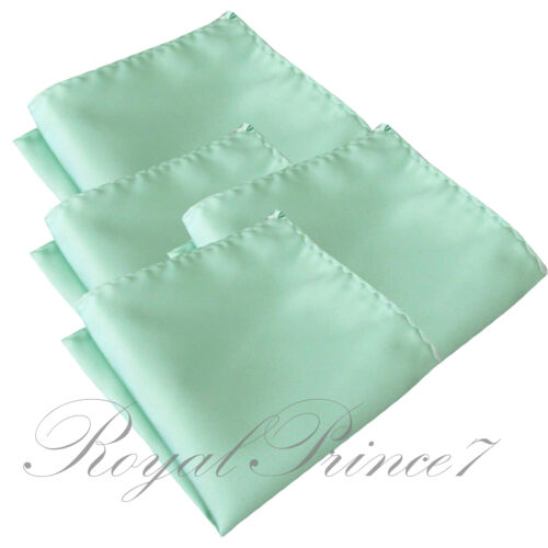 4 x Pastel Mint Green Solid Hankie Hankerchief Pocket Square Hanky Wedding 100V