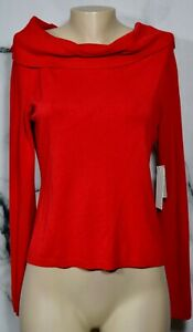 POPPY BY H.S.D. NEW NWT Lightweight Red Cowl Neck Sweater XL Long Sleeves