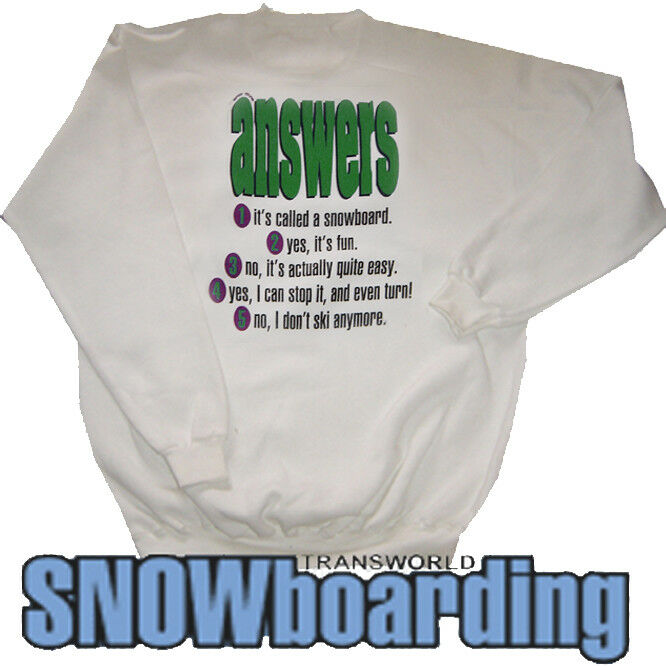 Trans World Snowboarding Crew Sweat Top Answers White XL Vintage '90s Snowboard
