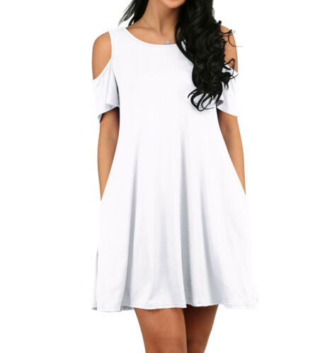Moxeay Women Summer Cold Shoulder Tunic Top Swing T-Shirt Casual Loose Dress US