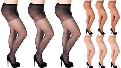 Aurellie Women Plus Size Sheer 20 Denier Lycra Tights 3 Colours 2 Packs UK 16-22