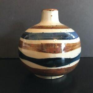 Vintage-Hand-Painted-Japanese-Bud-Vase-Blue-amp-Brown