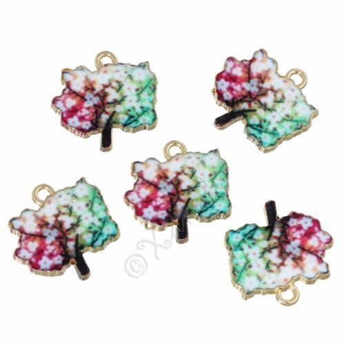 Autumn Colors Tree Wholesale Gold Plated Enamel Charms C2580-2 5 Or 10PCs