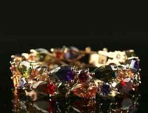 14k-Gold-GF-Bracelet-made-w-Authentic-Swarovski-Crystal-MultiColor-Stone-Bridal