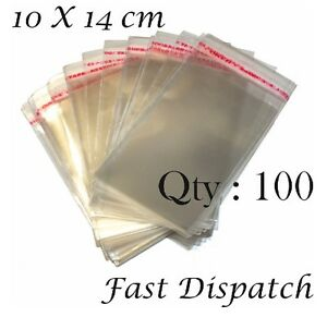100-12 x 6 cm Clear Cello Plastic Display Peel Seal Beads Bag