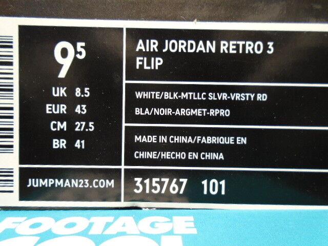 2007 nike air jordan iii 3 - zement - grau - - weiß - schwarz - grau rot - 315767-101 9,5 e0a324