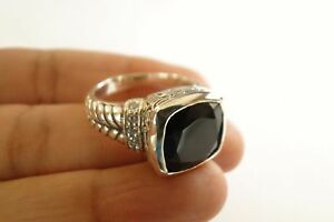 Square-Black-Onyx-Solitaire-Ornate-925-Sterling-Silver-Ring-Size-6-7-5-8-9