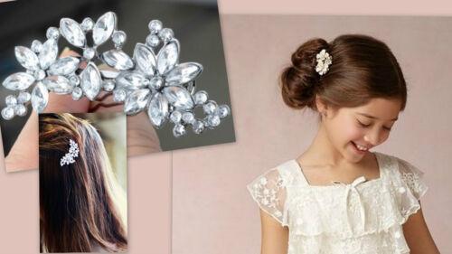 ★★NEU Haarclip Pin Haarklammer Kommunion silber Strass Blumenmädchen★★★H16