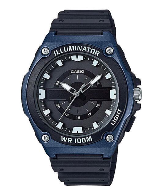c6df6718fb8d Casio Mwc100h-2av Analog Watch Black Resin Band Illuminator 100 Meter WR