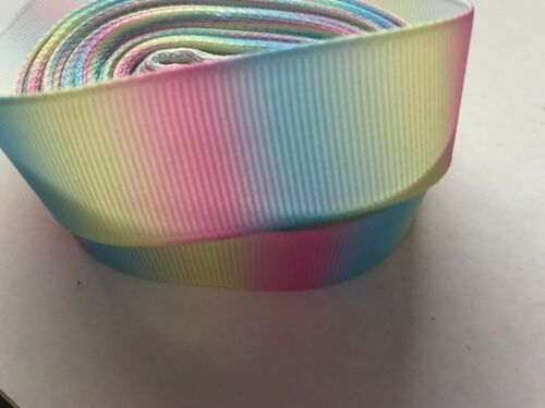 "Grosgrain Pastel Rainbow Ombre Ribbon 7//8/"" 22mm"