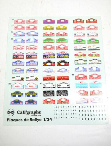 1:24  Neu K37 Decals Aufkleber Calligraphe G43 Rallye   ect #42