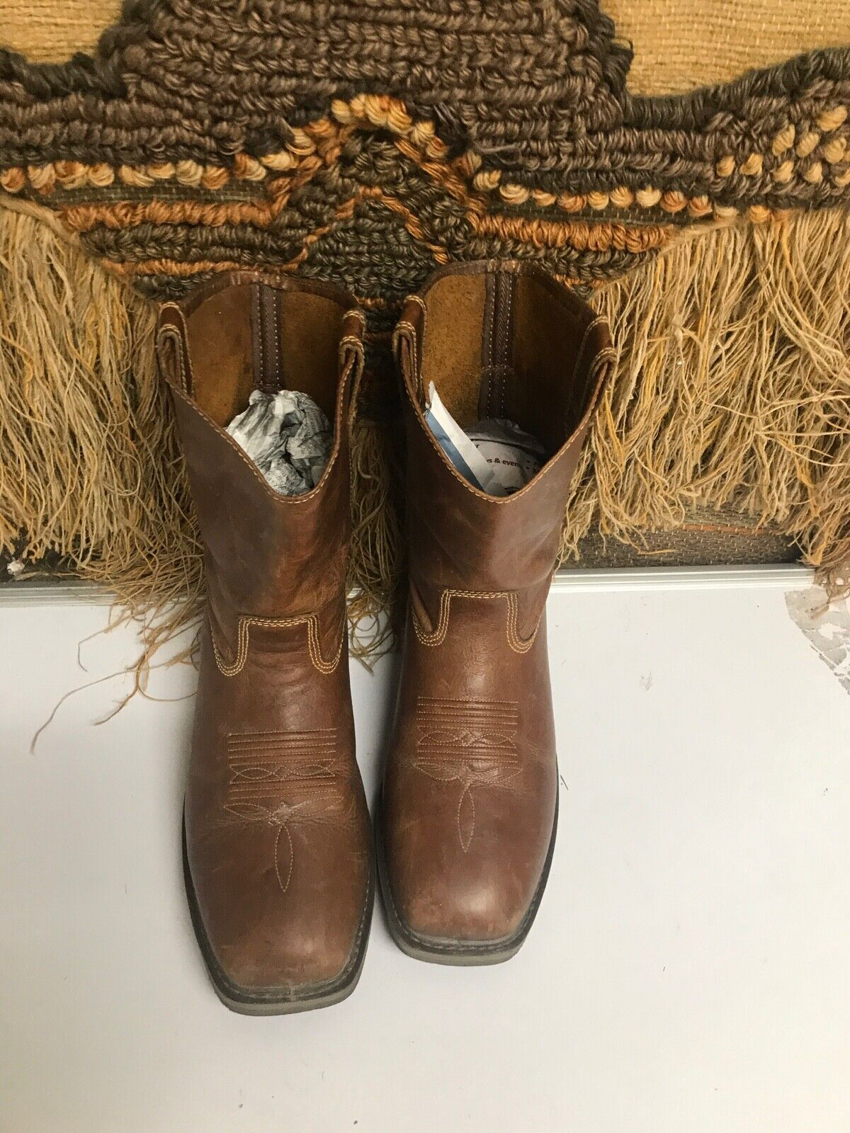 MENS DOUBLE H BROWN LEATHER WESTERN STEEL TOE BOOT SIZE 8.5 2E DH5123