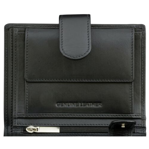 Mens RFID Genuine Leather Coin Pouch Wallet Zip Pocket ID Window Protect Black