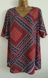 NEW-Samya-Plus-Size16-34-Aztec-Geometric-Print-Chiffon-Tunic-Top-Blouse-Blue-Red