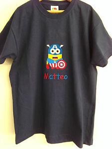 Ninos-Minion-Capitan-America-De-Bordado-Camiseta-18-Colores-3-4-anos-a-14-15-anos
