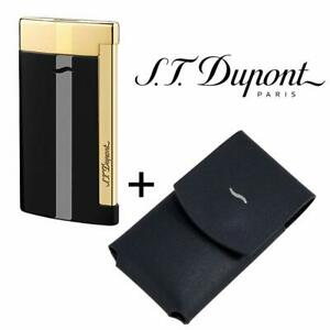NEW-ST-Dupont-Slim-7-Flat-Jet-Flame-Lighter-amp-Matching-Leather-Case-Black