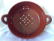 Rustic CERAMIC COLANDER - signed Miller Mud Works pottery, Red-Brown terracotta