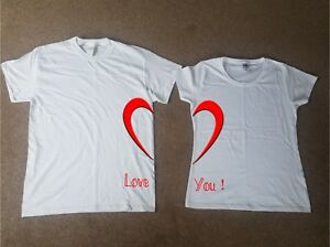 3a1a37da1d Love You Heart Twin T shirt Set Partner Valentine His and Her Lovers ...