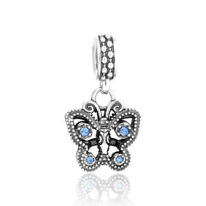 Silver-Butterfly-Charm-European-Charm-Cubic-Zirconia-Birthday-Gift
