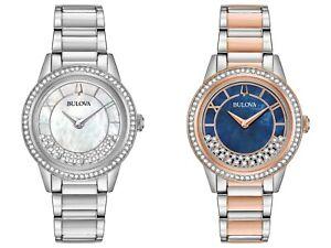 Bulova-Women-039-s-Quartz-Swarovski-Crystal-Accents-Multiple-Dial-Color-32mm-Watches
