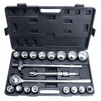 21 Pc 3/4 Dr Jumbo Socket Set Ratchet Wrench Chrome Extension Bar Ratchet Set