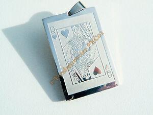 Pendentif-Acier-Inox-Plaque-Dame-de-Coeur-Poker-Carte