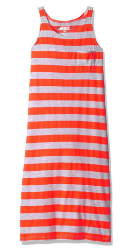 Neon Orange// Gray 6X Pinkhouse Girls Chest Pocket Racer Back Striped Maxi Dress