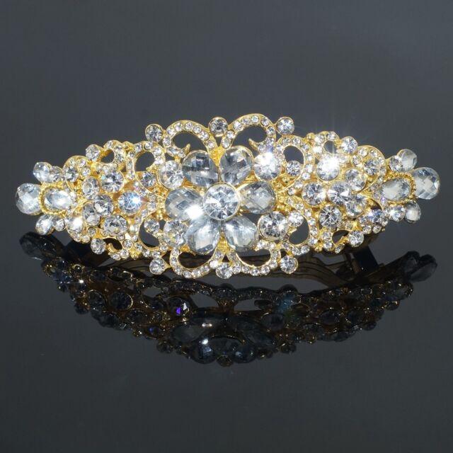 Clear Rhinestone Crystal Flower Barrette Gold Tone Hair Clip Bridal Party Gift