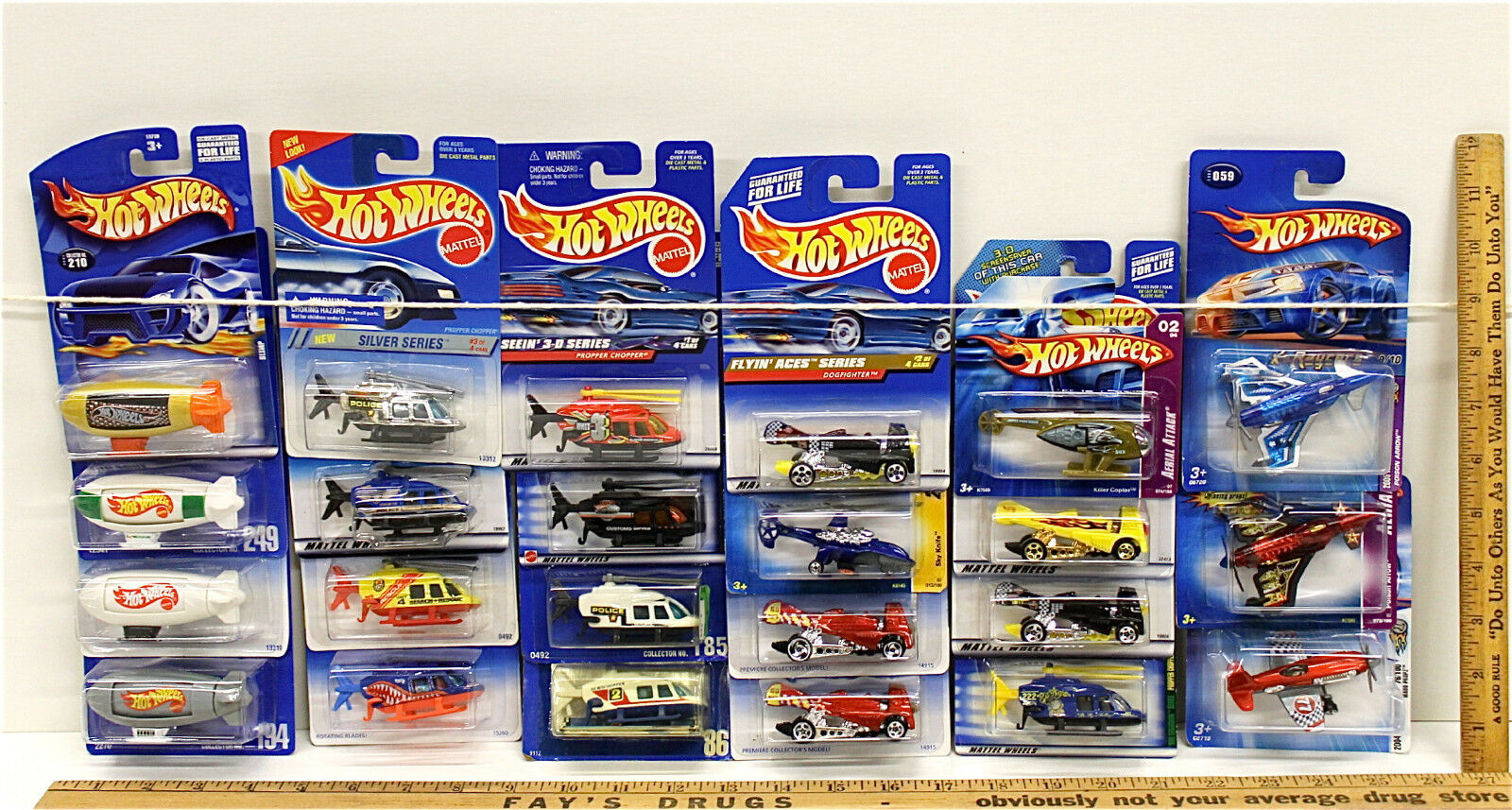 23 Pc Vintage Hot Wheels Aerial Lot Blimps Helicopters Planes No Two Alike Nice