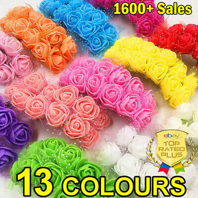 36-144x Mini Artificial Flowers Small Foam Rose Head Wedding Party Decor Bouquet