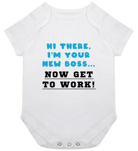 New Boss Work Baby Grow Babygrow Gift Birth Boy Girl Baby Funny Joke Cool